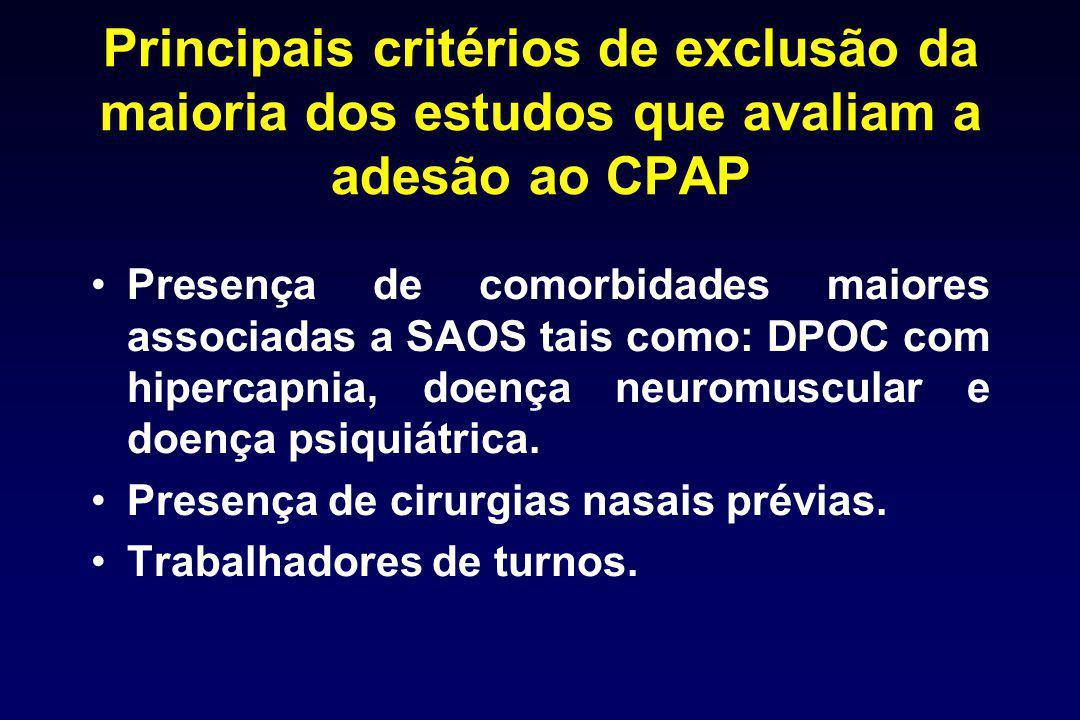 Principais critérios de exclusão da maioria dos estudos que avaliam a adesão ao CPAP Presença de comorbidades maiores associadas a SAOS tais como: DPO