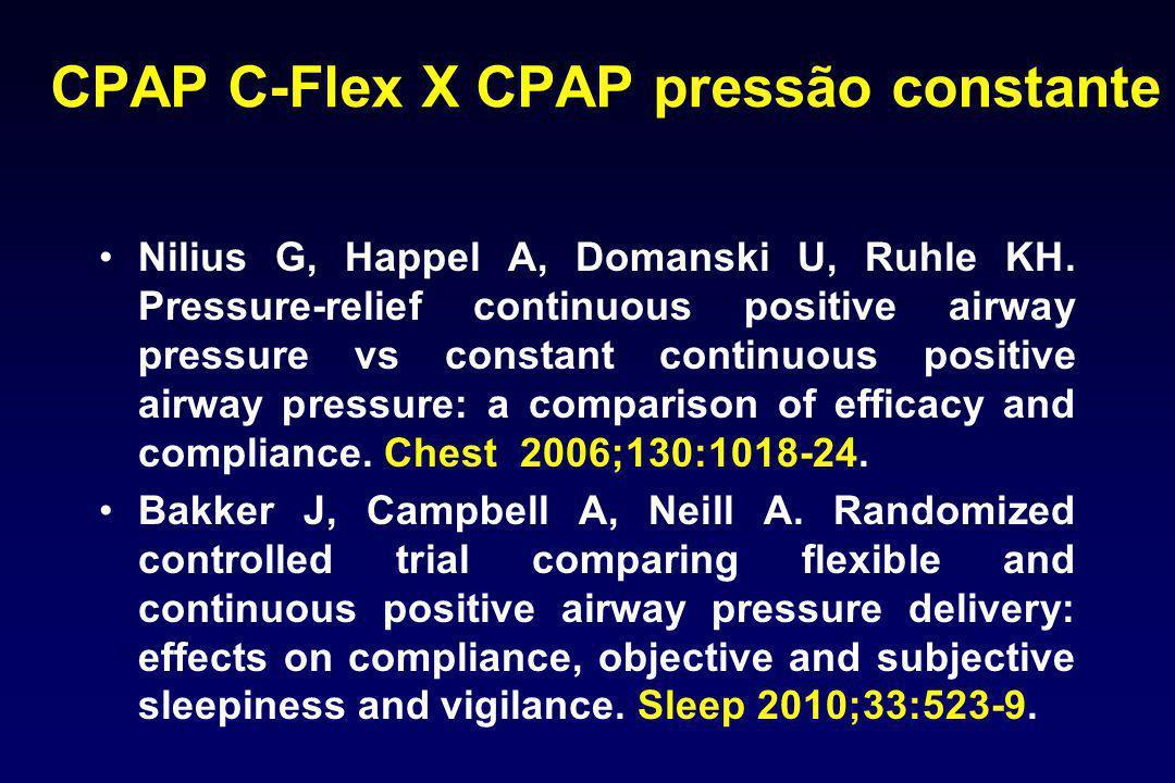 CPAP C-Flex X CPAP pressão constante Nilius G, Happel A, Domanski U, Ruhle KH. Pressure-relief continuous positive airway pressure vs constant continu