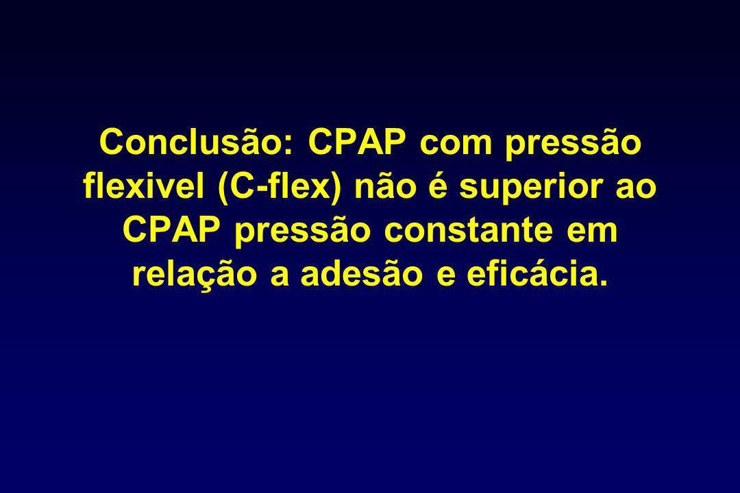 Conclusão: CPAP com pressão flexivel (C-flex) não é superior ao CPAP pressão constante em relação a adesão e eficácia.