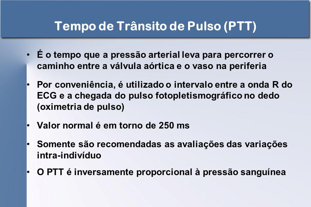 Tempo de Trânsito de Pulso (PTT) É o tempo que a pressão arterial leva para percorrer o caminho entre a válvula aórtica e o vaso na periferia Por conv