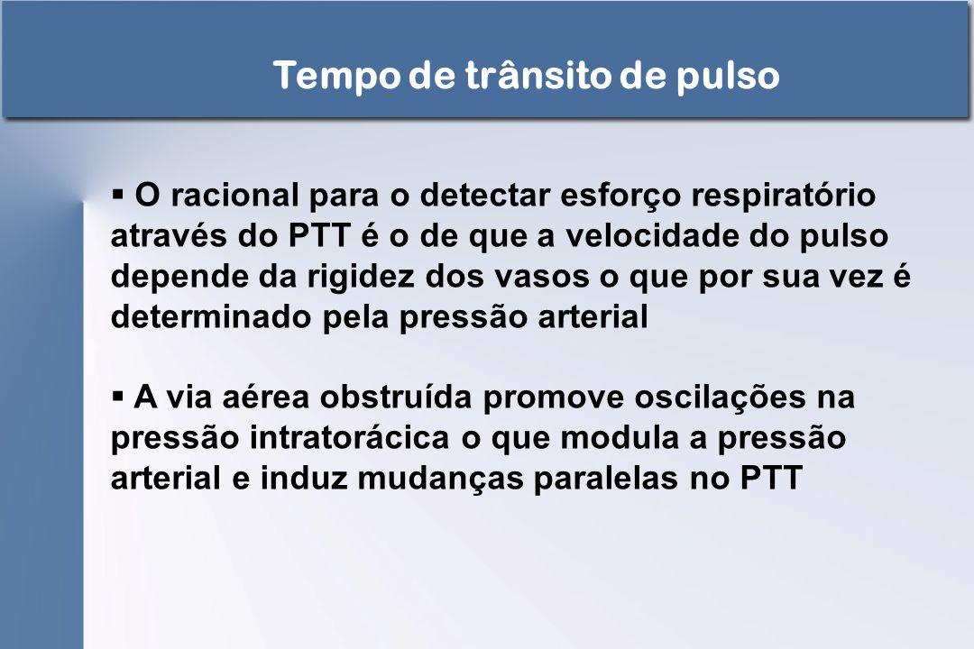  O racional para o detectar esforço respiratório através do PTT é o de que a velocidade do pulso depende da rigidez dos vasos o que por sua vez é det