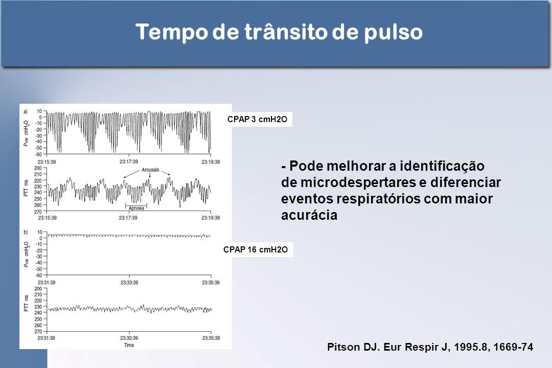 CPAP 3 cmH2O CPAP 16 cmH2O Pitson DJ. Eur Respir J, 1995.8, 1669-74 Tempo de trânsito de pulso - Pode melhorar a identificação de microdespertares e d