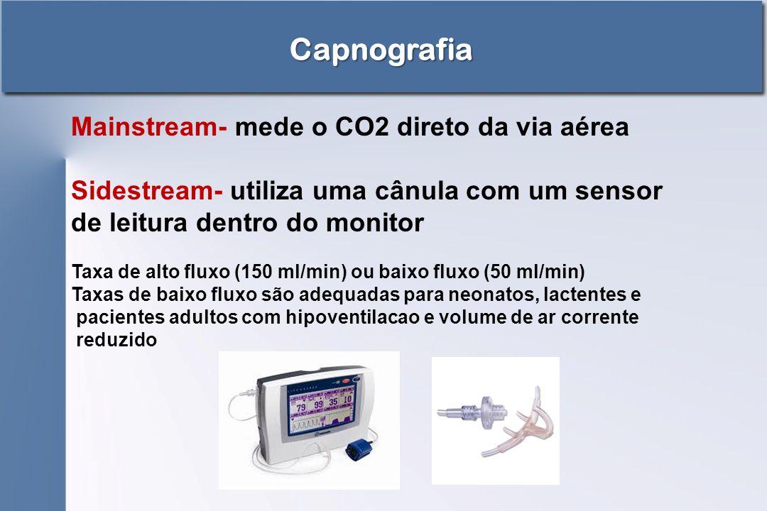 Capnografia Mainstream- mede o CO2 direto da via aérea Sidestream- utiliza uma cânula com um sensor de leitura dentro do monitor Taxa de alto fluxo (1