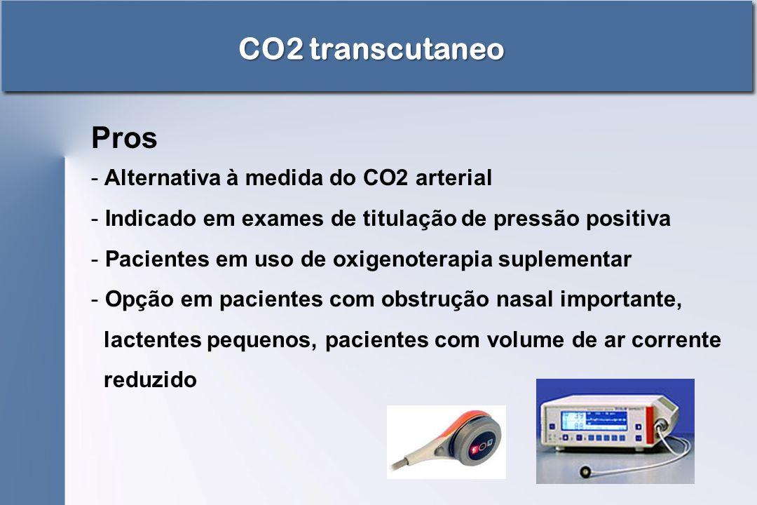 CO2 transcutaneo Pros - Alternativa à medida do CO2 arterial - Indicado em exames de titulação de pressão positiva - Pacientes em uso de oxigenoterapi