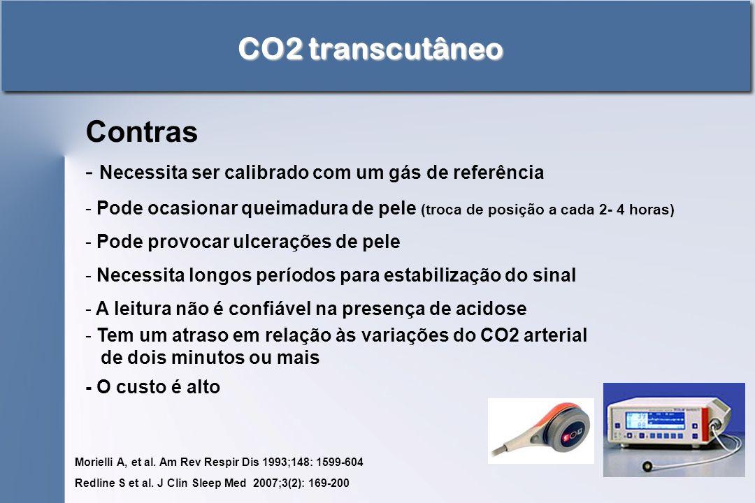 CO2 transcutâneo Contras - Necessita ser calibrado com um gás de referência - Pode ocasionar queimadura de pele (troca de posição a cada 2- 4 horas) -
