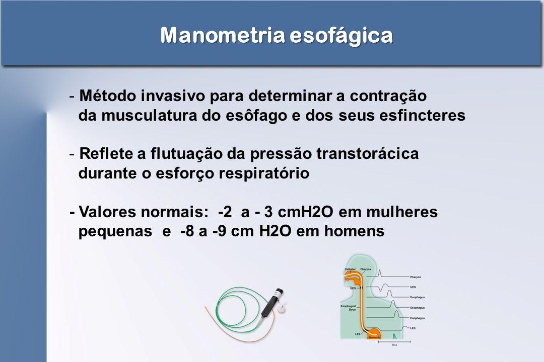 Manometria esofágica - Método invasivo para determinar a contração da musculatura do esôfago e dos seus esfincteres - Reflete a flutuação da pressão t