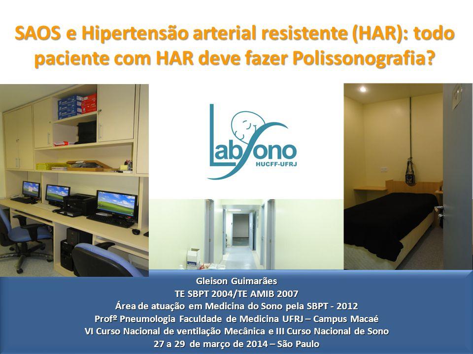 SAOS e Hipertensão arterial resistente (HAR): todo paciente com HAR deve fazer Polissonografia.