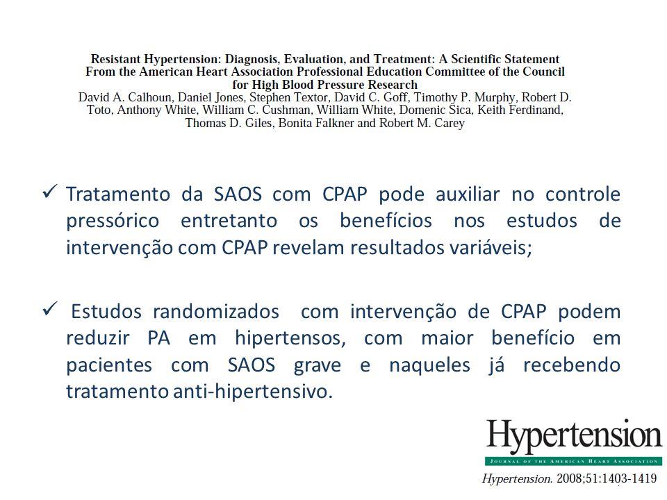 Tratamento da SAOS com CPAP pode auxiliar no controle pressórico entretanto os benefícios nos estudos de intervenção com CPAP revelam resultados variáveis; Estudos randomizados com intervenção de CPAP podem reduzir PA em hipertensos, com maior benefício em pacientes com SAOS grave e naqueles já recebendo tratamento anti-hipertensivo.