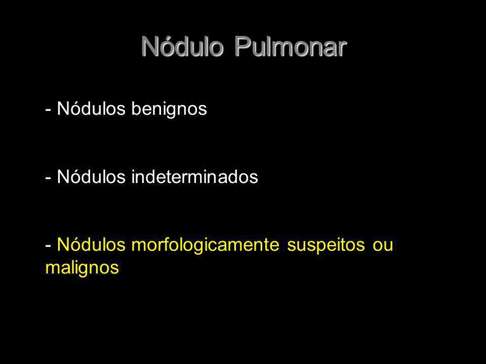 Nódulo Pulmonar - Nódulos benignos - Nódulos indeterminados - Nódulos morfologicamente suspeitos ou malignos