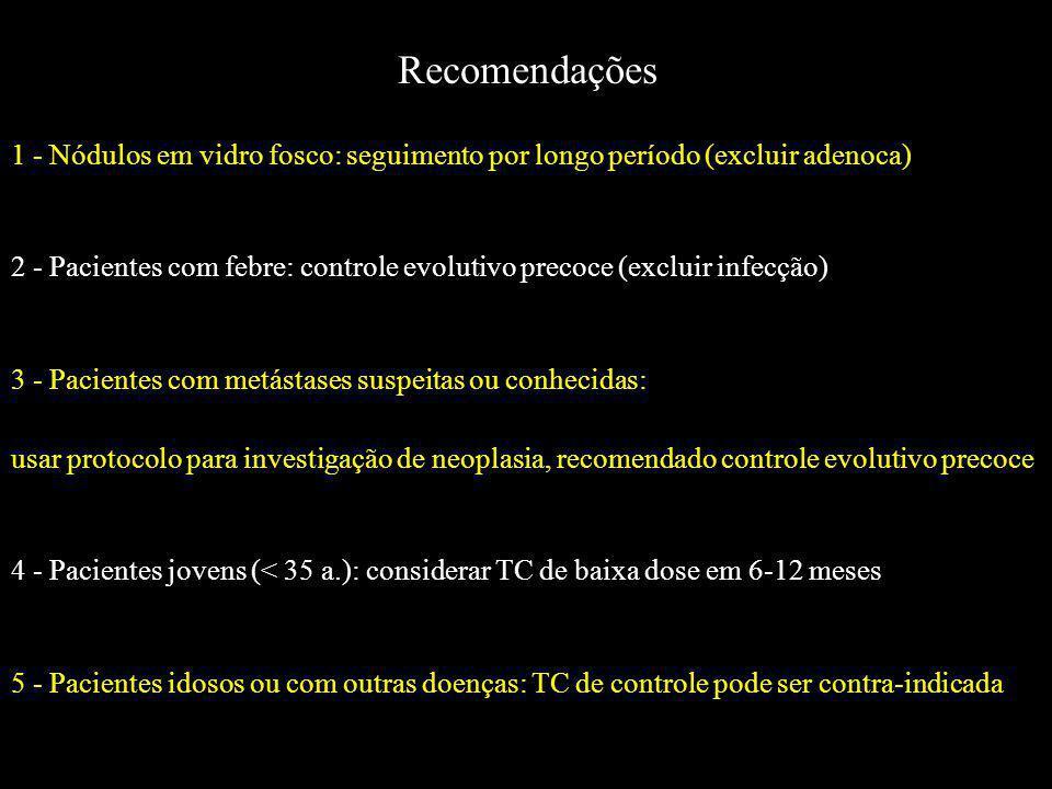 Recomendações 1 - Nódulos em vidro fosco: seguimento por longo período (excluir adenoca) 2 - Pacientes com febre: controle evolutivo precoce (excluir
