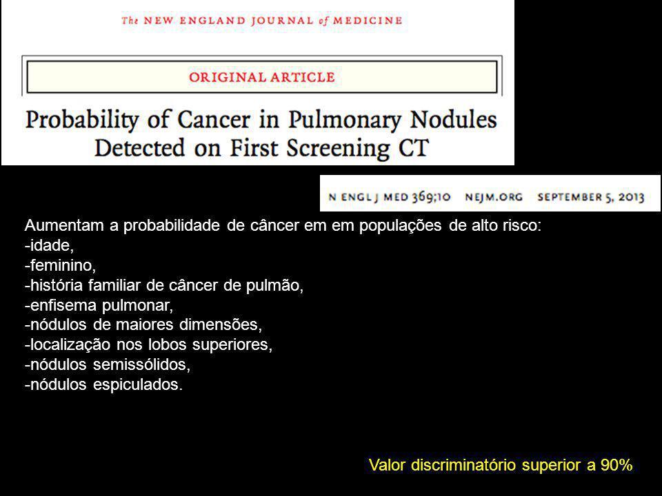 Aumentam a probabilidade de câncer em em populações de alto risco: -idade, -feminino, -história familiar de câncer de pulmão, -enfisema pulmonar, -nódulos de maiores dimensões, -localização nos lobos superiores, -nódulos semissólidos, -nódulos espiculados.