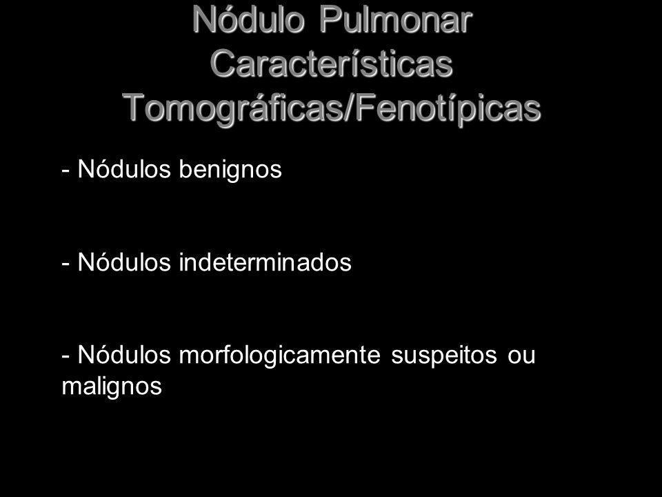 Nódulo Pulmonar Características Tomográficas/Fenotípicas - Nódulos benignos - Nódulos indeterminados - Nódulos morfologicamente suspeitos ou malignos