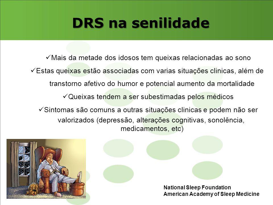 DRS na senilidade Mais da metade dos idosos tem queixas relacionadas ao sono Estas queixas estão associadas com varias situações clinicas, além de tra