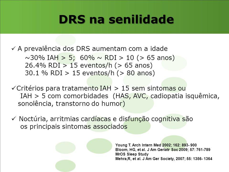 DRS na senilidade A prevalência dos DRS aumentam com a idade ~30% IAH > 5; 60% ~ RDI > 10 (> 65 anos) 26.4% RDI > 15 eventos/h (> 65 anos) 30.1 % RDI