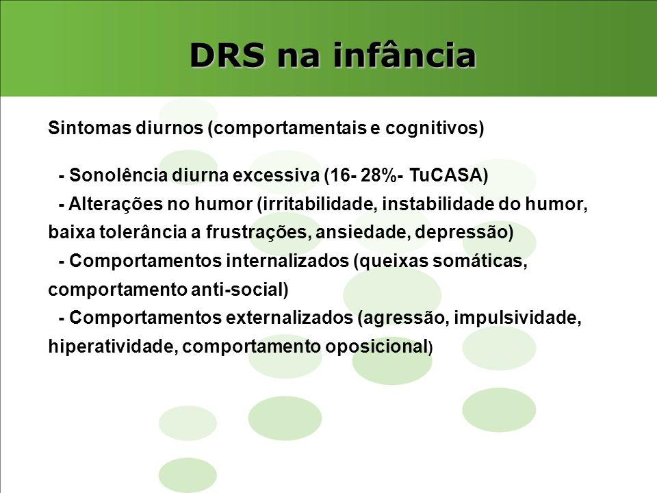 DRS na infância Sintomas diurnos (comportamentais e cognitivos) - Sonolência diurna excessiva (16- 28%- TuCASA) - Alterações no humor (irritabilidade,