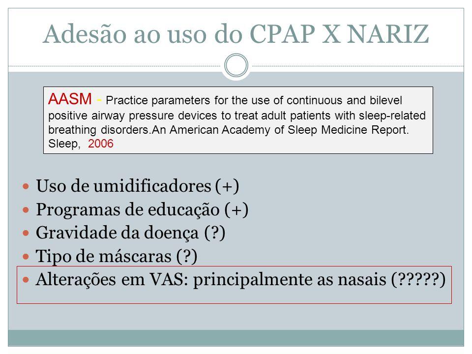 Adesão ao uso do CPAP X NARIZ Uso de umidificadores (+) Programas de educação (+) Gravidade da doença (?) Tipo de máscaras (?) Alterações em VAS: prin