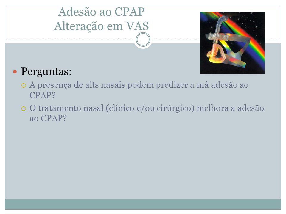 Adesão ao CPAP Alteração em VAS Perguntas:  A presença de alts nasais podem predizer a má adesão ao CPAP?  O tratamento nasal (clínico e/ou cirúrgic