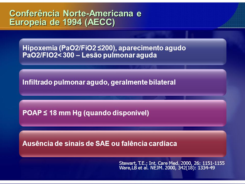 Conferência Norte-Americana e Europeia de 1994 (AECC) Hipoxemia (PaO2/FiO2 ≤200), aparecimento agudo PaO2/FIO2< 300 – Lesão pulmonar aguda Infiltrado pulmonar agudo, geralmente bilateralPOAP ≤ 18 mm Hg (quando disponível)Ausência de sinais de SAE ou falência cardíaca Stewart, T.E.; Int.