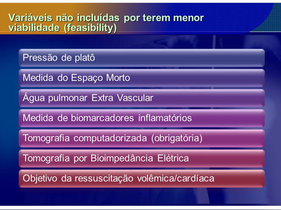 Variáveis não incluídas por terem menor viabilidade (feasibility) Pressão de platôMedida do Espaço MortoÁgua pulmonar Extra VascularMedida de biomarcadores inflamatóriosTomografia computadorizada (obrigatória)Tomografia por Bioimpedância ElétricaObjetivo da ressuscitação volêmica/cardíaca