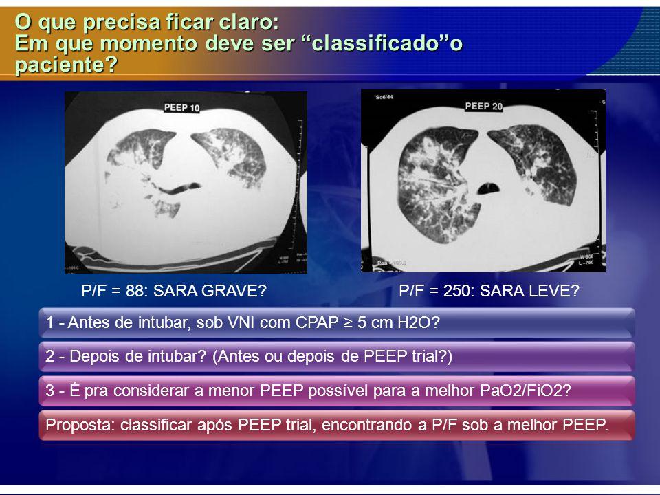 """O que precisa ficar claro: Em que momento deve ser """"classificado""""o paciente? 1 - Antes de intubar, sob VNI com CPAP ≥ 5 cm H2O?2 - Depois de intubar?"""