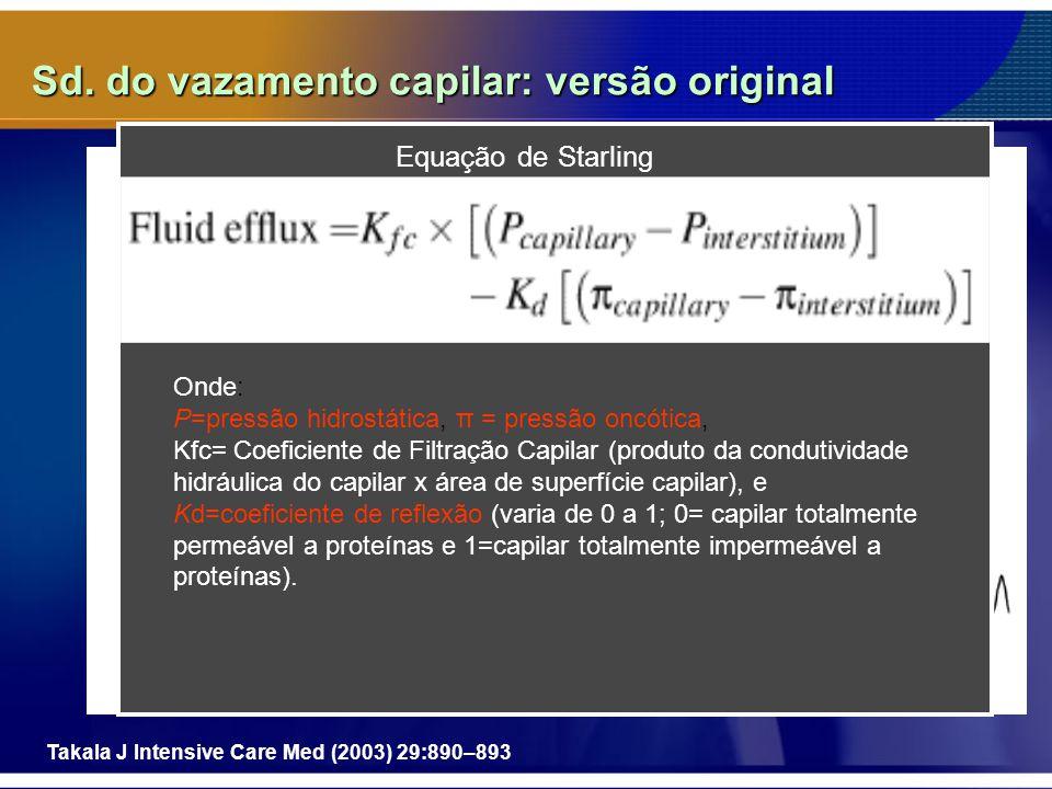 Sd. do vazamento capilar: versão original Takala J Intensive Care Med (2003) 29:890–893 Equação de Starling Onde: P=pressão hidrostática, π = pressão