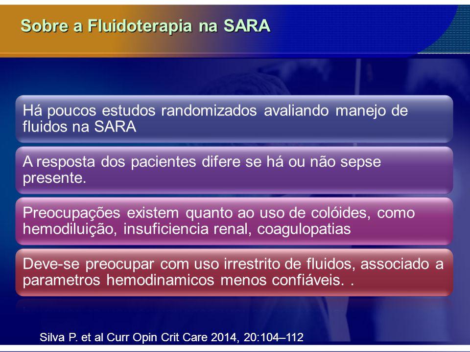 Sobre a Fluidoterapia na SARA Há poucos estudos randomizados avaliando manejo de fluidos na SARA A resposta dos pacientes difere se há ou não sepse presente.