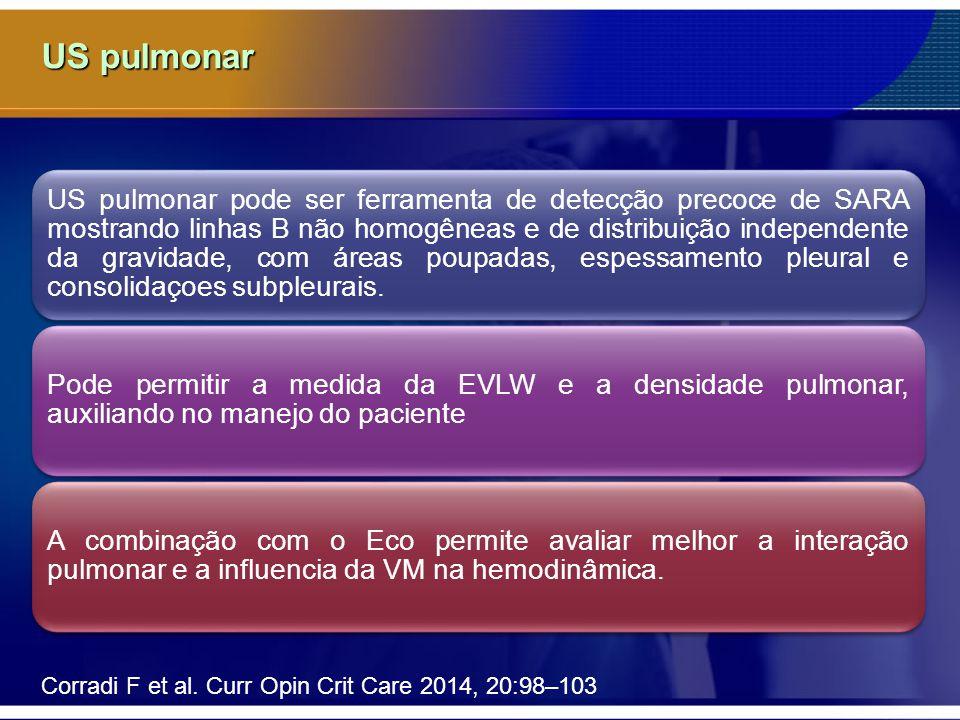 US pulmonar Corradi F et al. Curr Opin Crit Care 2014, 20:98–103 US pulmonar pode ser ferramenta de detecção precoce de SARA mostrando linhas B não ho