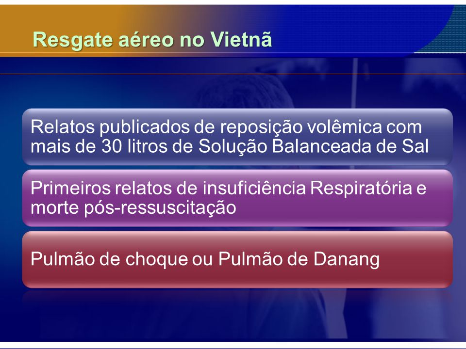 Resgate aéreo no Vietnã Relatos publicados de reposição volêmica com mais de 30 litros de Solução Balanceada de Sal Primeiros relatos de insuficiência Respiratória e morte pós-ressuscitação Pulmão de choque ou Pulmão de Danang