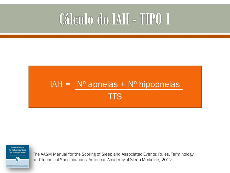 IAH = N o apneias + N o hipopneias TTS The AASM Manual for the Scoring of Sleep and Associated Events: Rules, Terminology and Technical Specifications