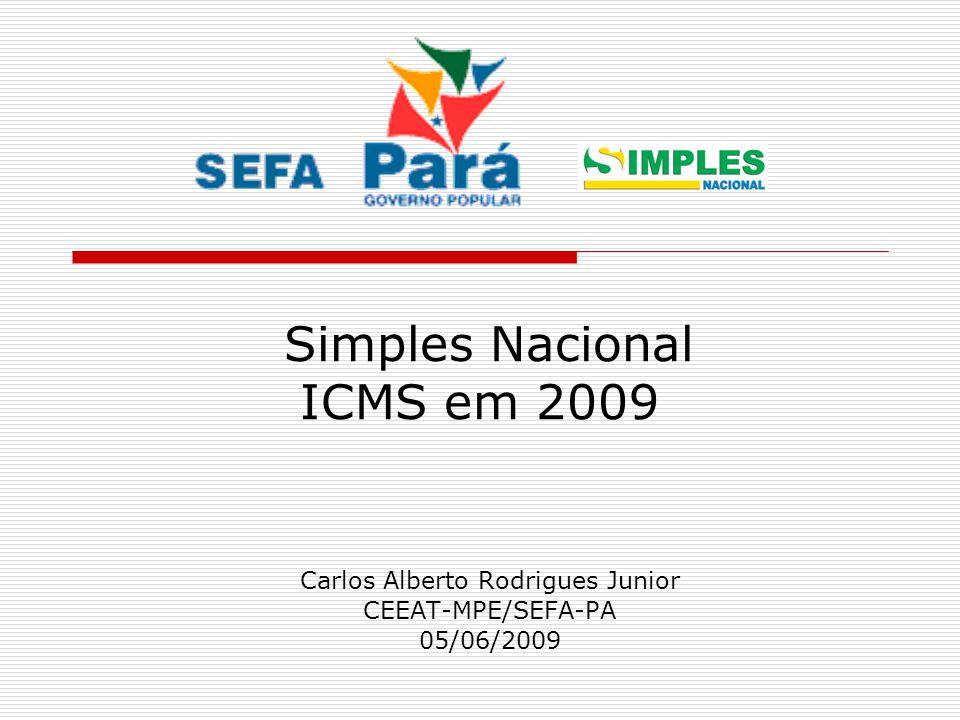 Simples Nacional ICMS em 2009 Carlos Alberto Rodrigues Junior CEEAT-MPE/SEFA-PA 05/06/2009