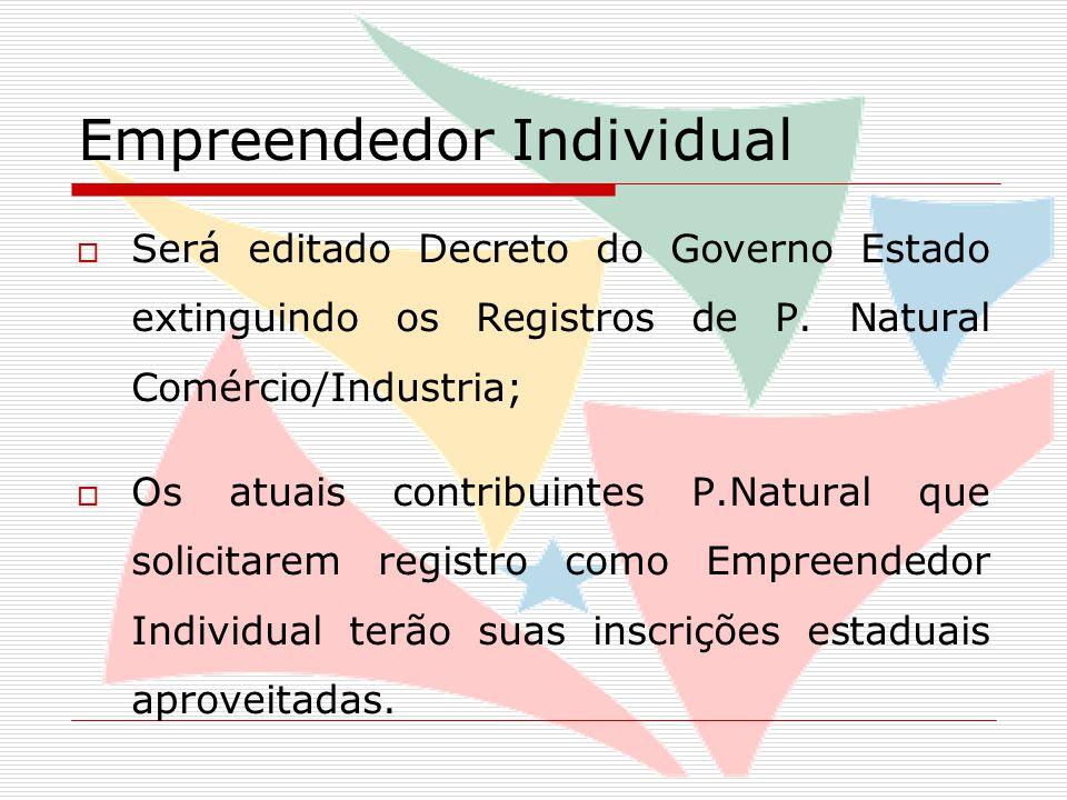 Empreendedor Individual  Será editado Decreto do Governo Estado extinguindo os Registros de P.