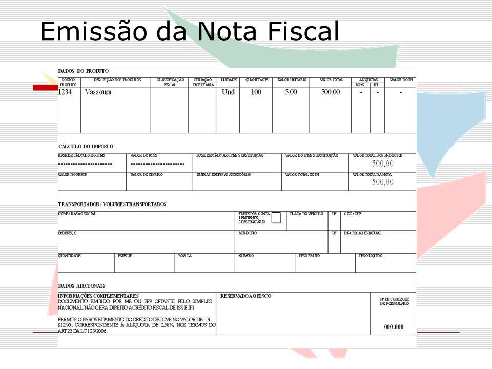 Emissão de NF com Substuição Tributária de ICMS Exemplo prático: Madeireira (EPP) optante pelo Simples Nacional vendendo compensado para outra empresa (optante ou não) dentro do Estado Sujeita à substituição tributária interna; Margem de valor agregado de 45% Quantidade: 25 und Preço unitário: R$ 150,00 Valor total dos produtos: R$ 3.750,00
