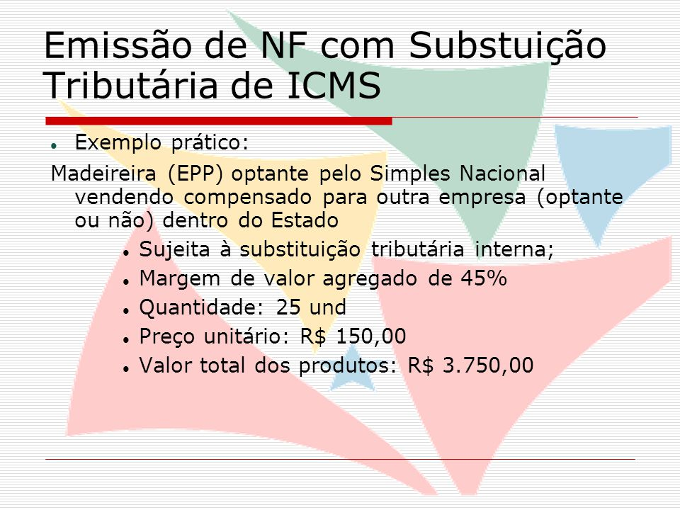 Emissão de NF com Substuição Tributária de ICMS Valor total dos produtos:R$ 3.750,00 Margem de Agregação (45%)R$ 1.687,50 Base de Cálculo STR$ 5.437,50 Alíquota interna (17%) R$ 924,37 (-)7% sobre a operação própria(R$ 262,50)  ICMS Substituição Tributária R$ 661,87