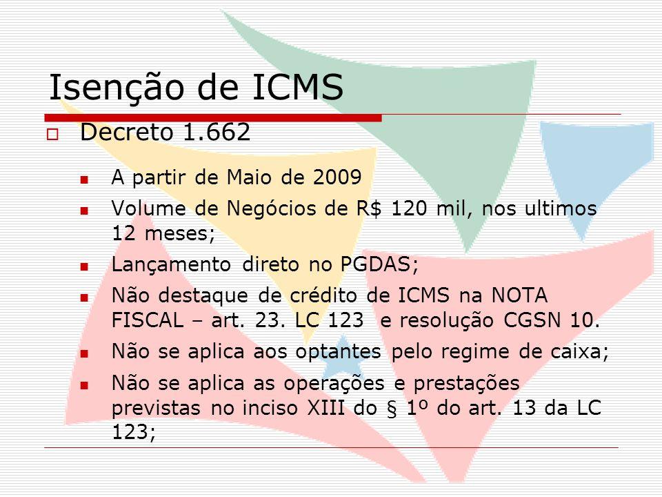 Isenção de ICMS  Decreto 1.662 A partir de Maio de 2009 Volume de Negócios de R$ 120 mil, nos ultimos 12 meses; Lançamento direto no PGDAS; Não destaque de crédito de ICMS na NOTA FISCAL – art.