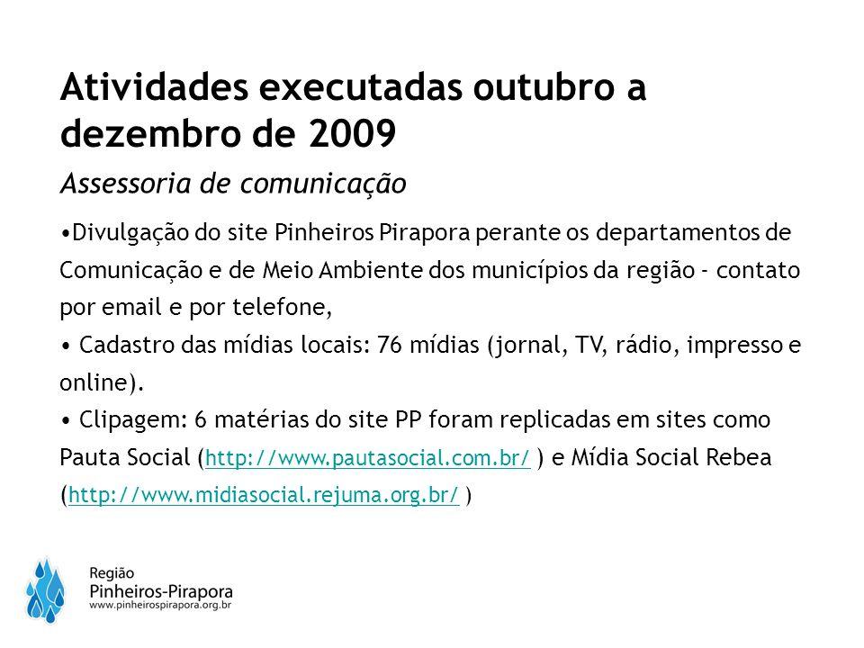Assessoria de comunicação Divulgação do site Pinheiros Pirapora perante os departamentos de Comunicação e de Meio Ambiente dos municípios da região - contato por email e por telefone, Cadastro das mídias locais: 76 mídias (jornal, TV, rádio, impresso e online).