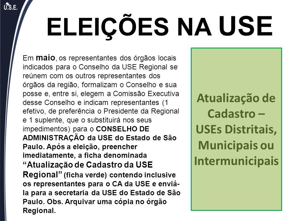 ELEIÇÕES NA USE Em maio, os representantes dos órgãos locais indicados para o Conselho da USE Regional se reúnem com os outros representantes dos órgã
