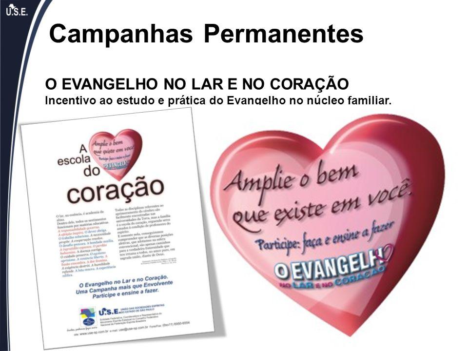 Campanhas Permanentes O EVANGELHO NO LAR E NO CORAÇÃO Incentivo ao estudo e prática do Evangelho no núcleo familiar.