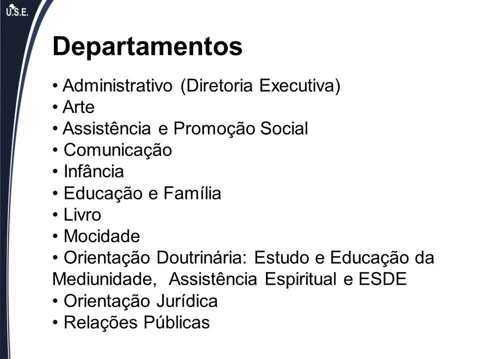 Departamentos Administrativo (Diretoria Executiva) Arte Assistência e Promoção Social Comunicação Infância Educação e Família Livro Mocidade Orientaçã