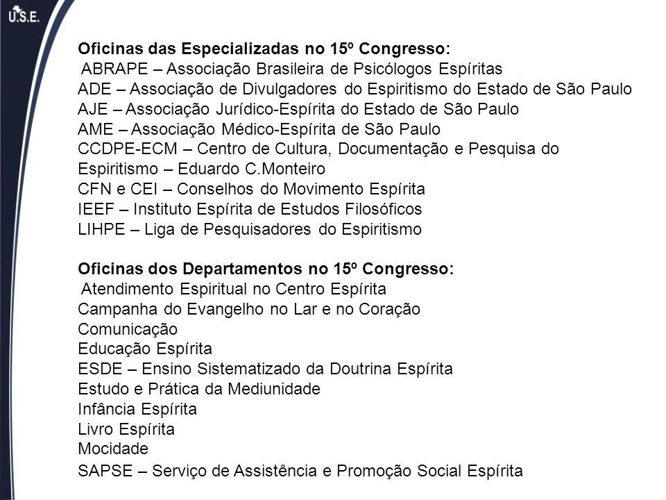 Oficinas das Especializadas no 15º Congresso: ABRAPE – Associação Brasileira de Psicólogos Espíritas ADE – Associação de Divulgadores do Espiritismo d