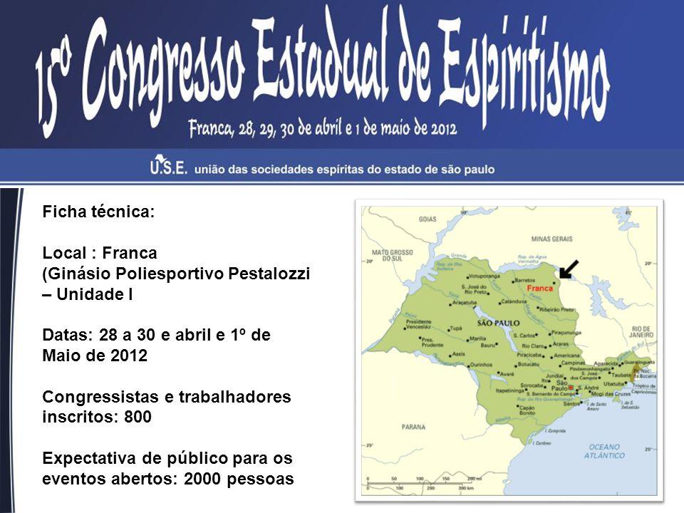 Ficha técnica: Local : Franca (Ginásio Poliesportivo Pestalozzi – Unidade I Datas: 28 a 30 e abril e 1º de Maio de 2012 Congressistas e trabalhadores