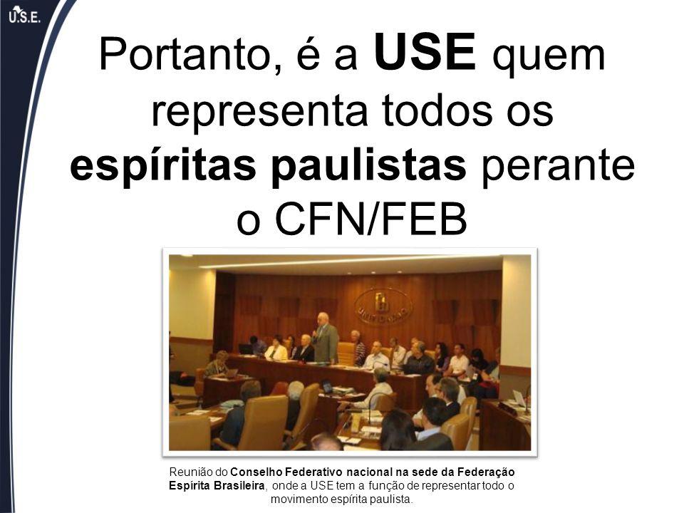Portanto, é a USE quem representa todos os espíritas paulistas perante o CFN/FEB Reunião do Conselho Federativo nacional na sede da Federação Espírita