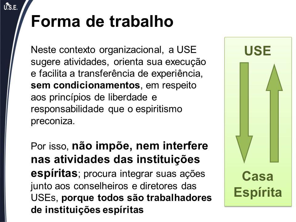 Neste contexto organizacional, a USE sugere atividades, orienta sua execução e facilita a transferência de experiência, sem condicionamentos, em respe