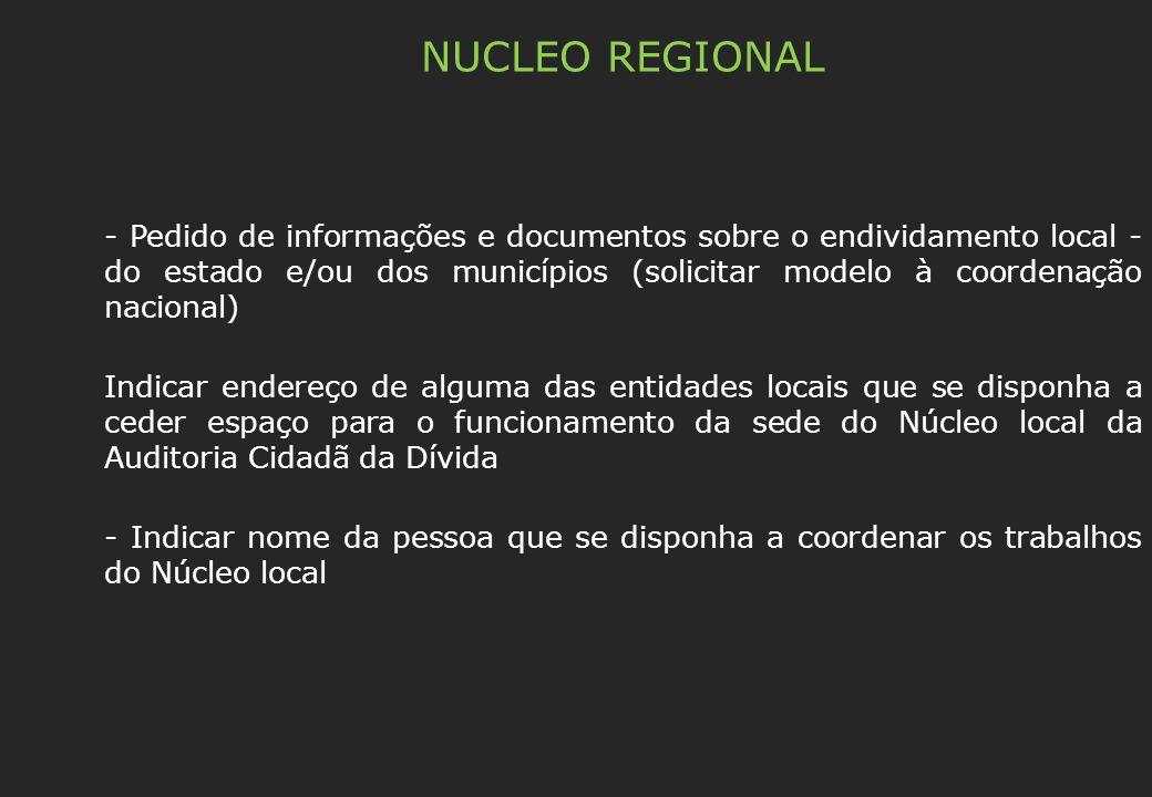 NUCLEO REGIONAL - Pedido de informações e documentos sobre o endividamento local - do estado e/ou dos municípios (solicitar modelo à coordenação nacio