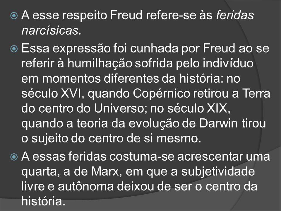  A esse respeito Freud refere-se às feridas narcísicas.  Essa expressão foi cunhada por Freud ao se referir à humilhação sofrida pelo indivíduo em m