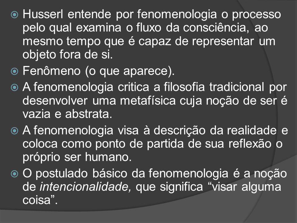  Husserl entende por fenomenologia o processo pelo qual examina o fluxo da consciência, ao mesmo tempo que é capaz de representar um objeto fora de s