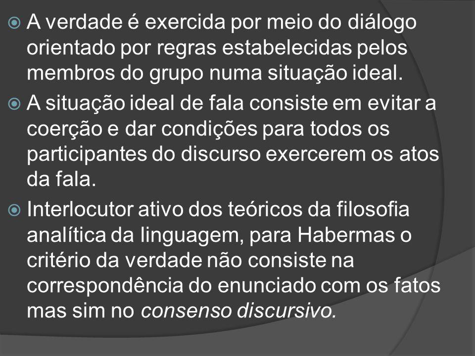  A verdade é exercida por meio do diálogo orientado por regras estabelecidas pelos membros do grupo numa situação ideal.  A situação ideal de fala c