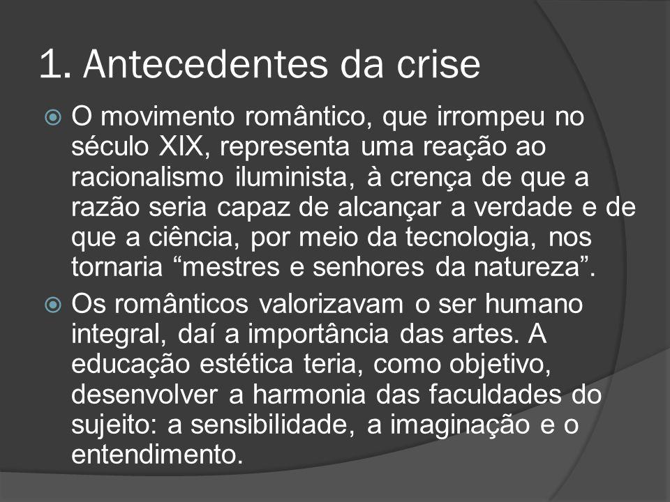 1. Antecedentes da crise  O movimento romântico, que irrompeu no século XIX, representa uma reação ao racionalismo iluminista, à crença de que a razã
