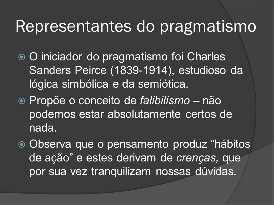 Representantes do pragmatismo  O iniciador do pragmatismo foi Charles Sanders Peirce (1839-1914), estudioso da lógica simbólica e da semiótica.  Pro