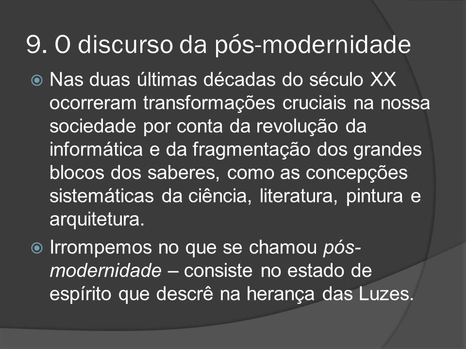 9. O discurso da pós-modernidade  Nas duas últimas décadas do século XX ocorreram transformações cruciais na nossa sociedade por conta da revolução d