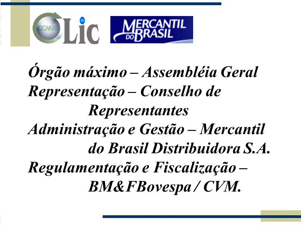 Órgão máximo – Assembléia Geral Representação – Conselho de Representantes Administração e Gestão – Mercantil do Brasil Distribuidora S.A.